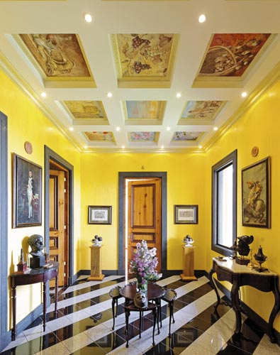 Vestibule with painted ceiling