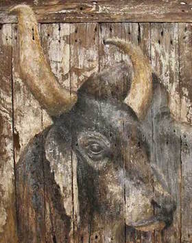 Bull's head painted on wood