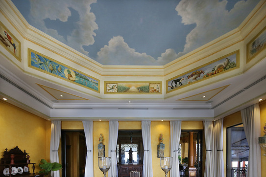 painted ceiling and murals